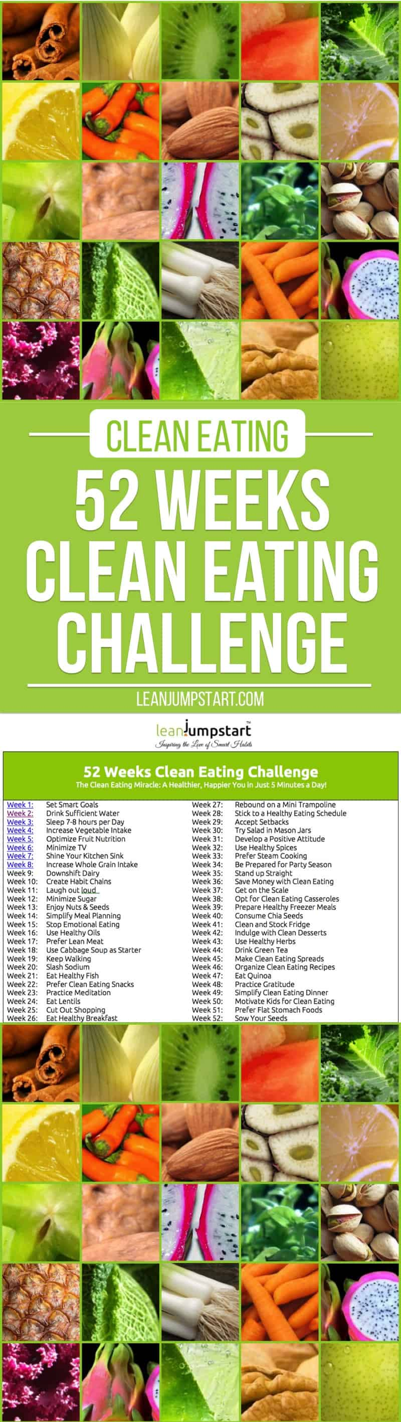 52 weeks clean eating challenge: Grab FREE schedule!