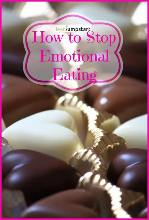 chocolate hearts with banner: stop emotional eating