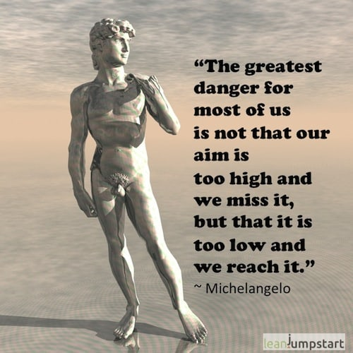 goal setting quote Michelangelo