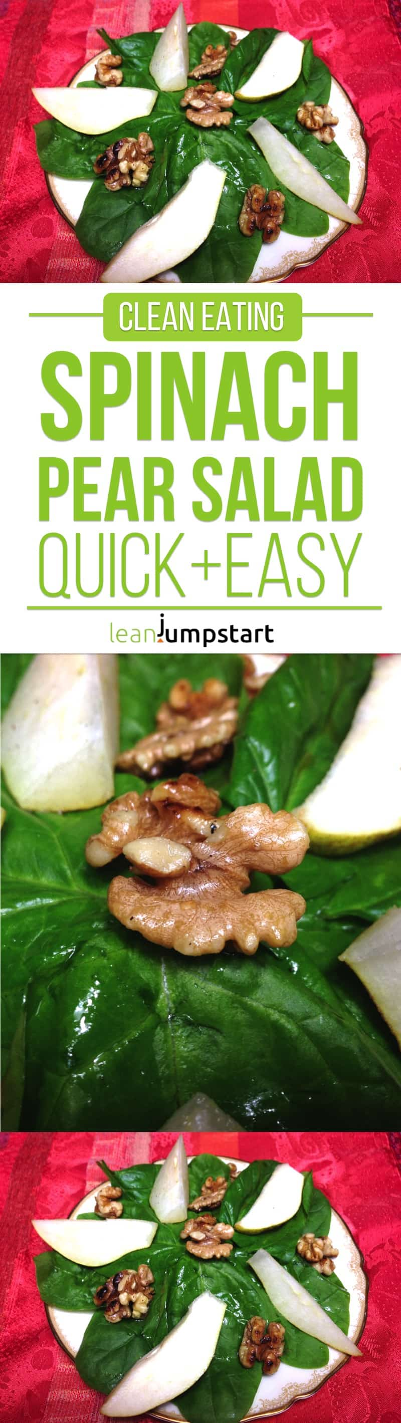 clean eating spinach pear salad with walnuts