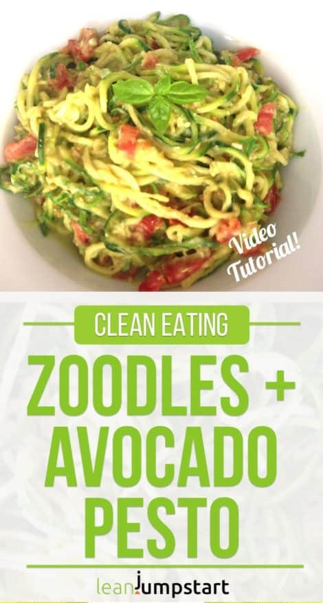 Clean Eating Zoodles Recipe: Spiralized Zucchini Pasta & Avocado