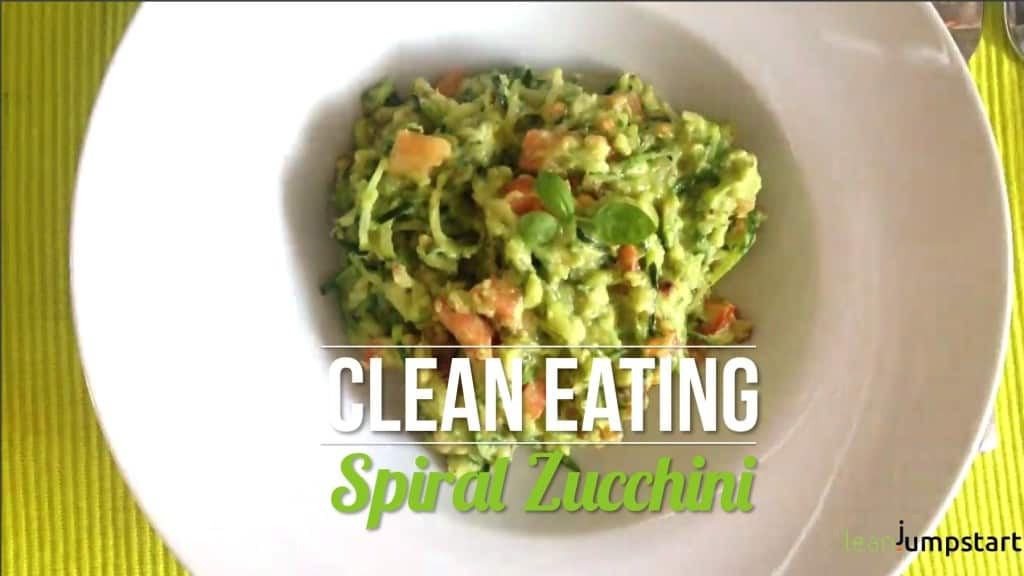 clean eating zoodles recipe: spiralized zucchinis with avocado pesto