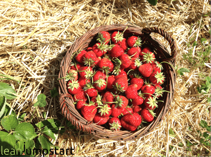 basket with picked strawberries