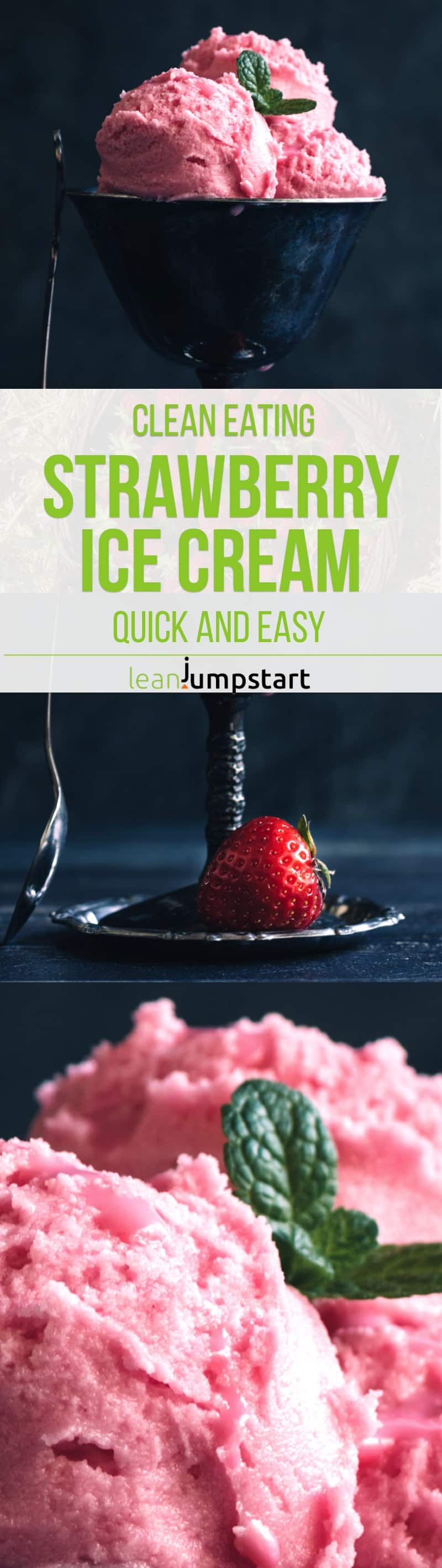 This 3-ingredient strawberry ice cream recipe is a perfect option for a healthy bit of deliciousness. It is a cool, clean and refreshing treat on a hot summer day that is ready within a few minutes. Repin this and then click through to read about this quick clean eating dessert!