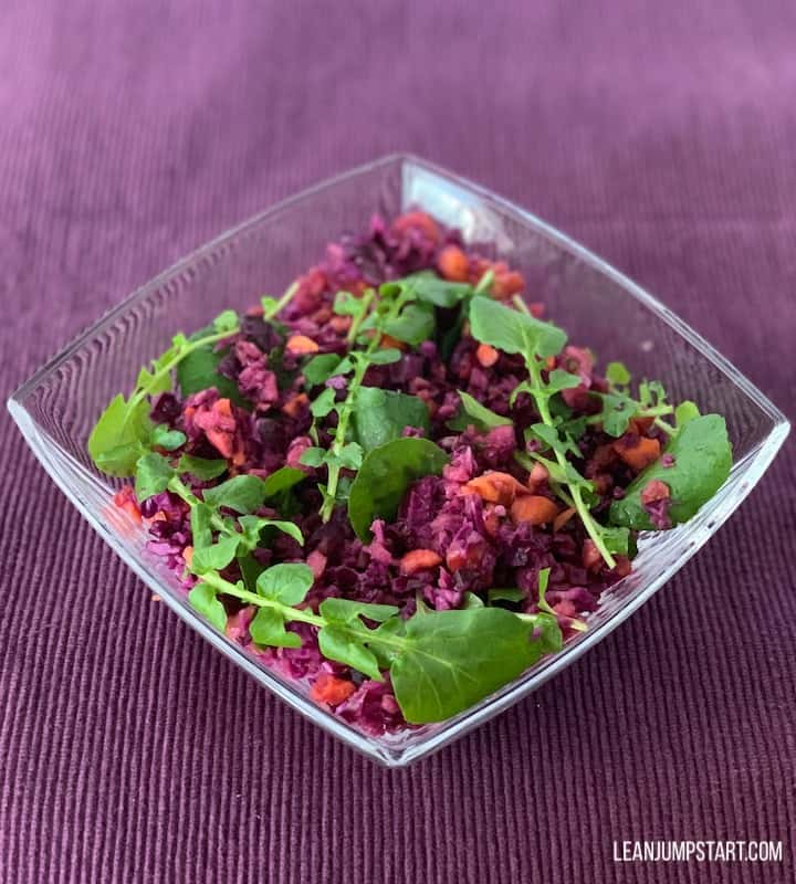red cabbage salad with watercress