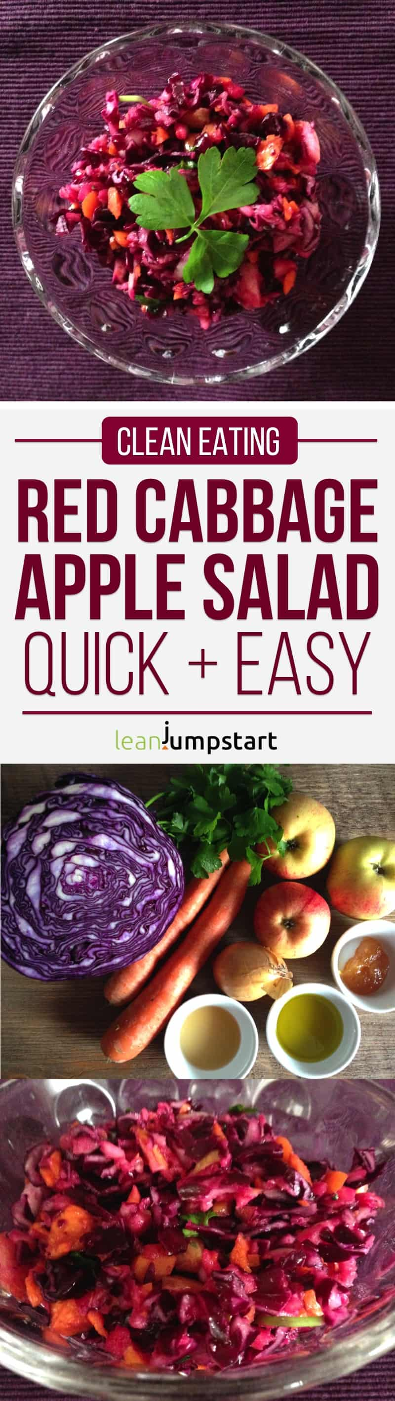 clean eating red cabbage salad recipe with apples - quick and easy