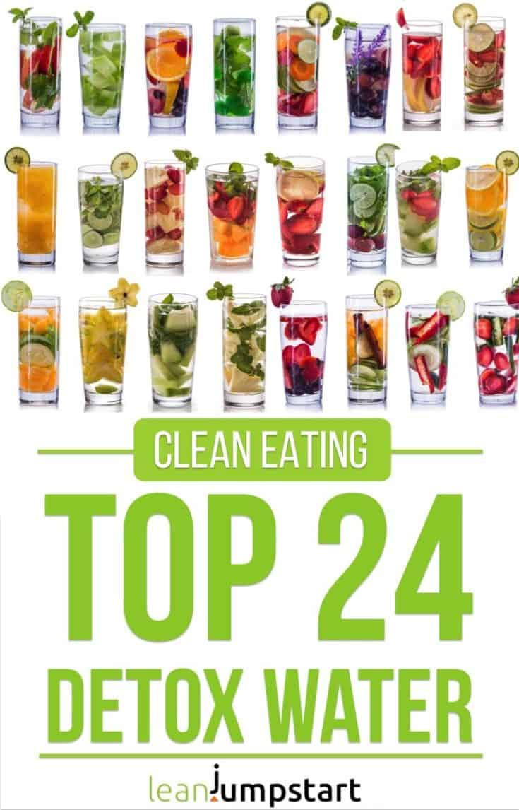 Detox Water: Top 24 clean infused water recipes to boost your metabolism #detoxwater #weightloss #detox #infusedwater #drinkingwater