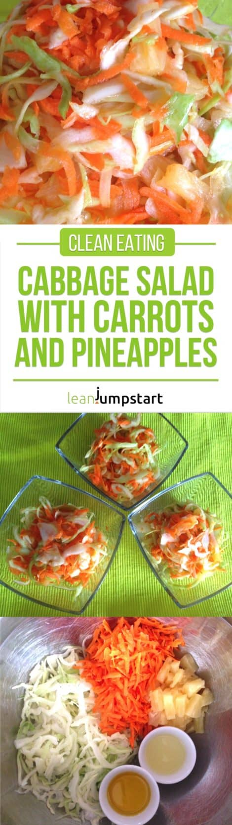 Clean eating cabbage salad recipe with carrots and pineapples: yummy and easy