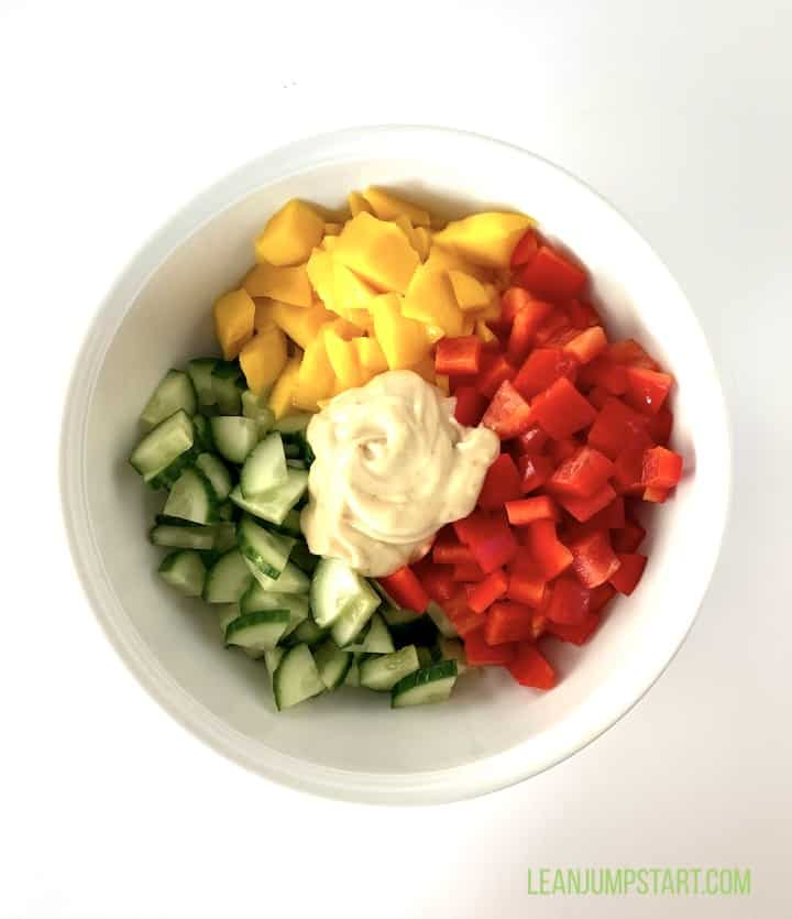 cut veggies mango with dressing