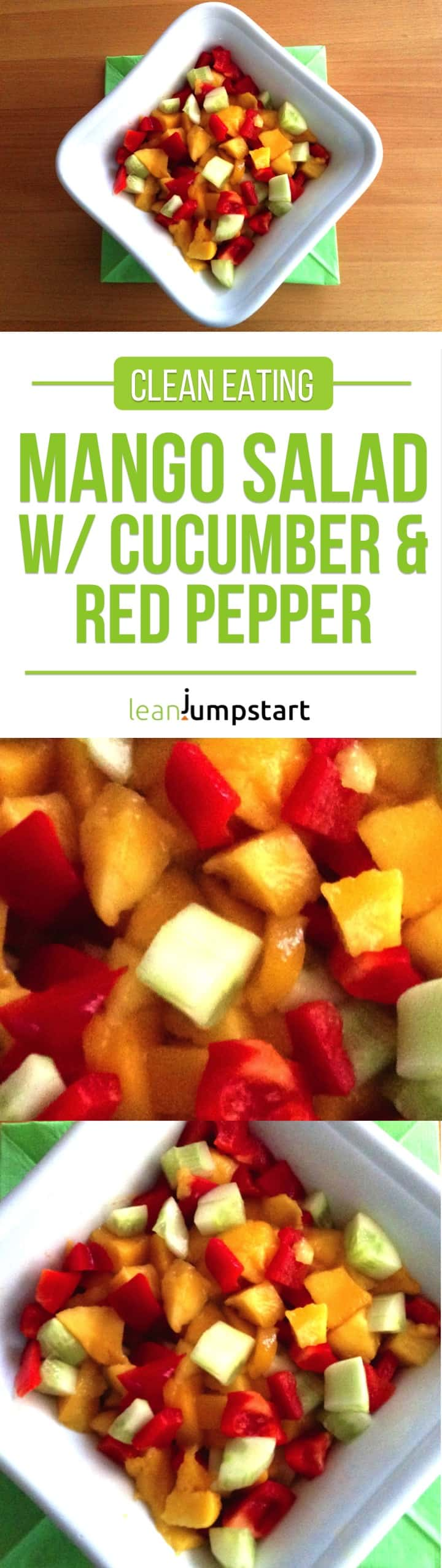 mango salad with cucumber and red pepper - grab this lean and simple clean eating salad recipe