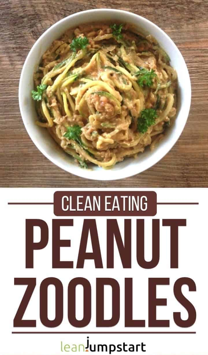 peanut butter zoodles in a bowl with text overlay