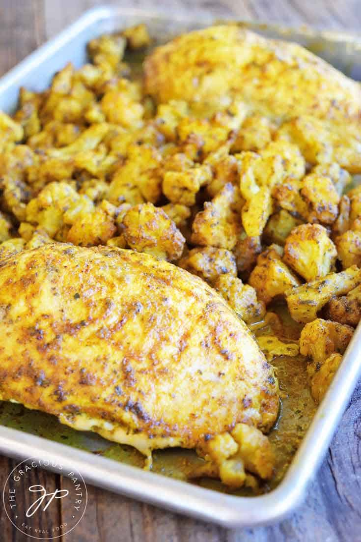 sheet pan chicken cauliflower dinner