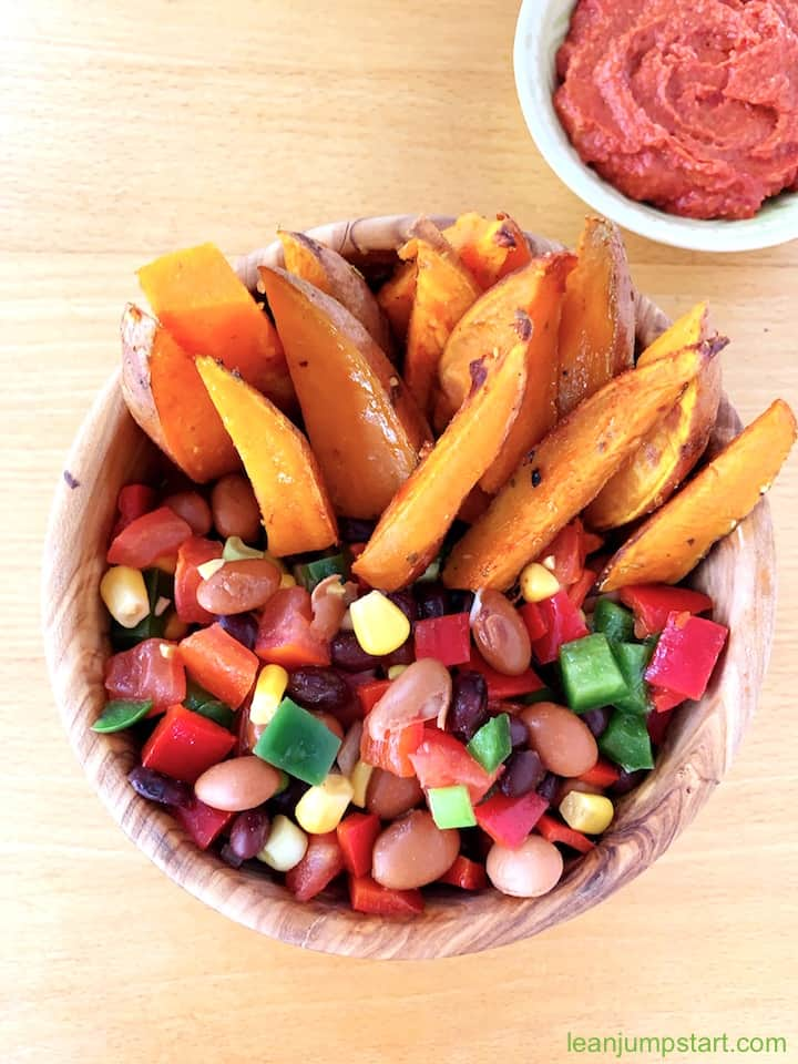cowboy caviar with sweet potato wedges