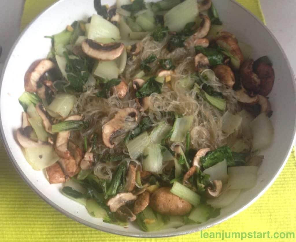 bok choy noodles in a skillet