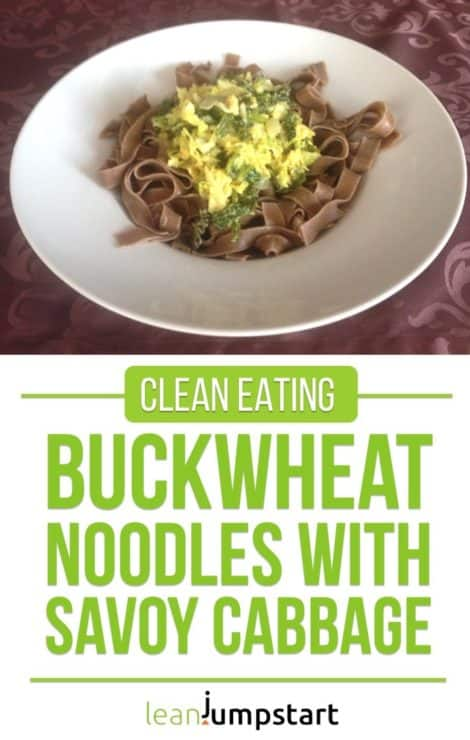 Buckwheat noodles with creamy savoy cabbage mustard sauce: quick and easy