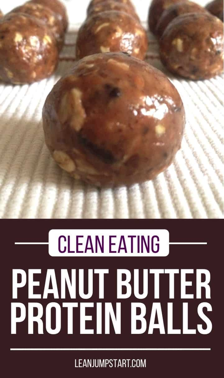 peanut butter protein balls on a white background