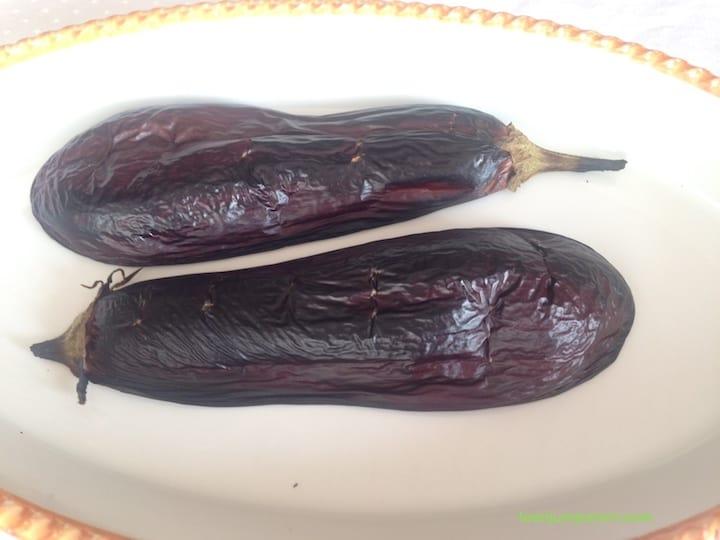 baked eggplant halves