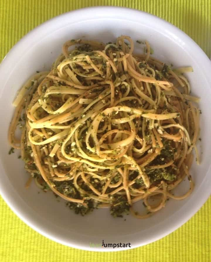 kale pesto with wholegrain spaghetti