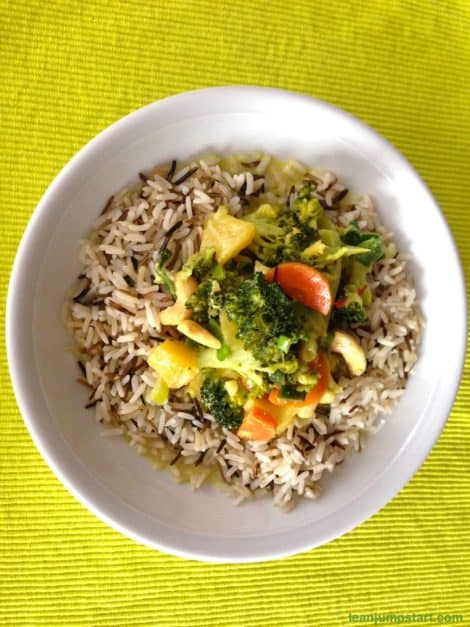 Mango curry with wild rice