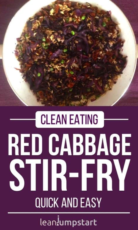 Red cabbage stir fry with rice and sun-dried tomatoes: easy 20 minutes dish