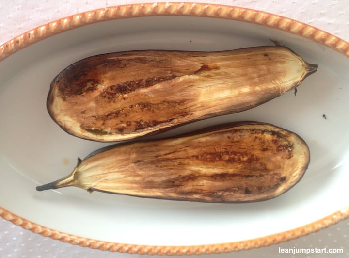 roasted eggplant halves