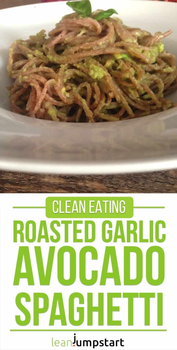 roasted garlic avocado spaghetti