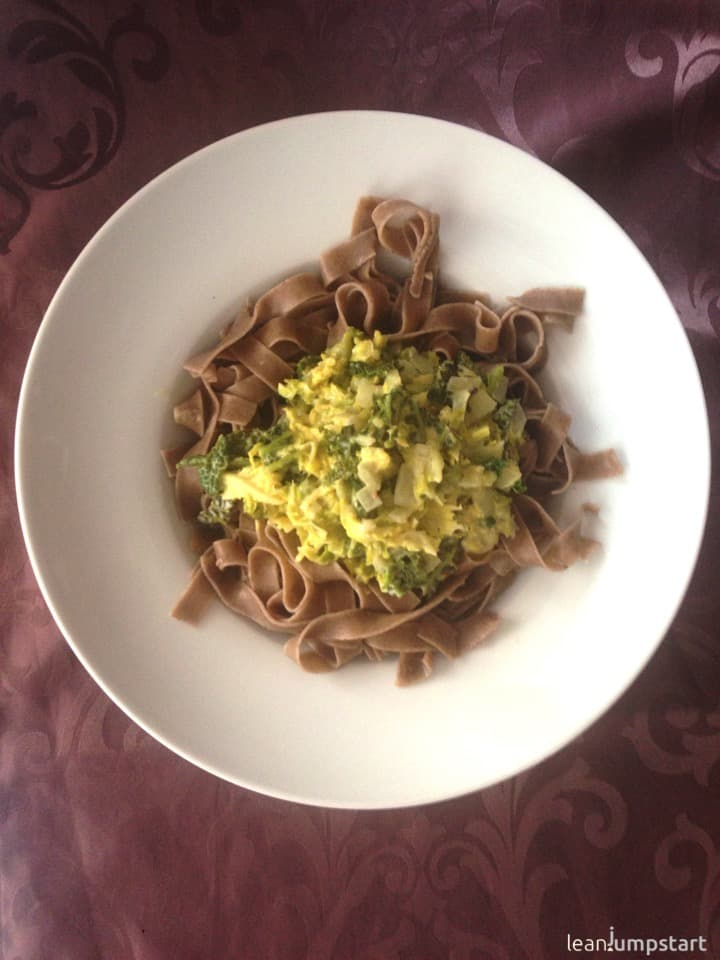 savoy cabbage whole grain noodles