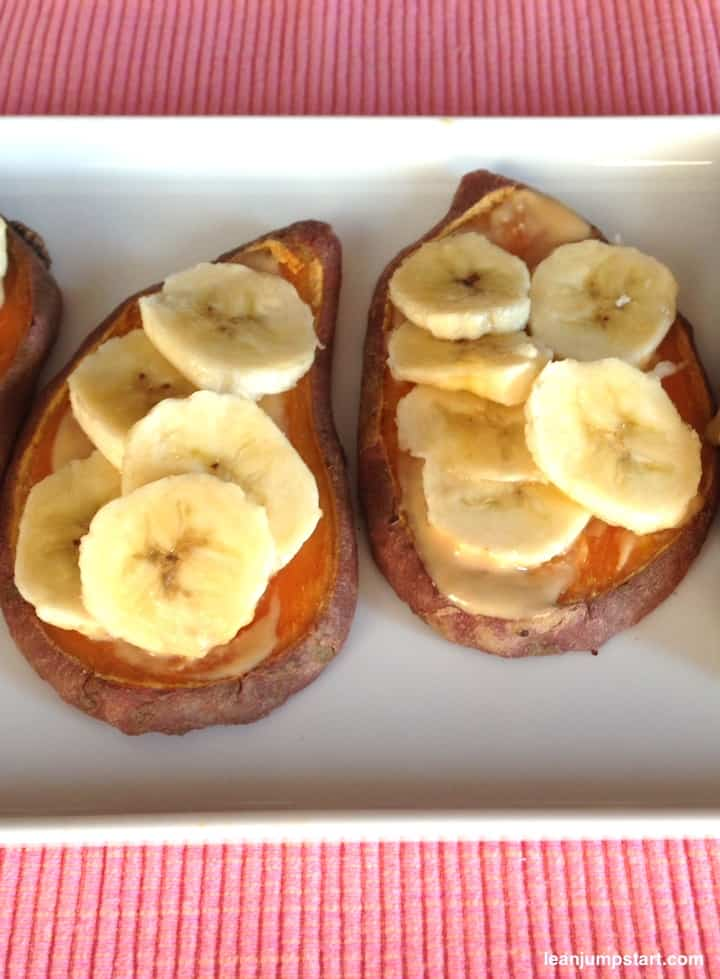 baked sweet potato toast with peanut-butter
