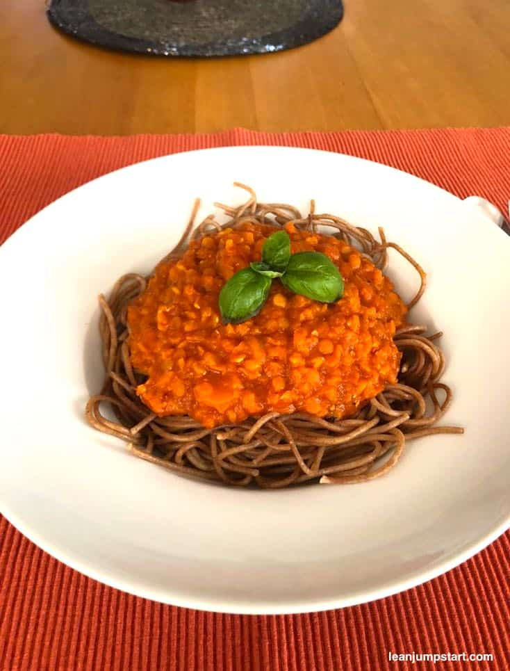 red lentil whole grain spaghetti in a pasta plate