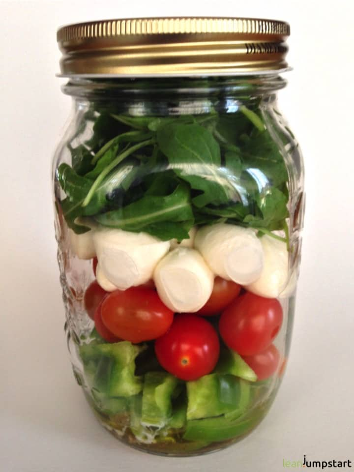 Italian salad in mason jar
