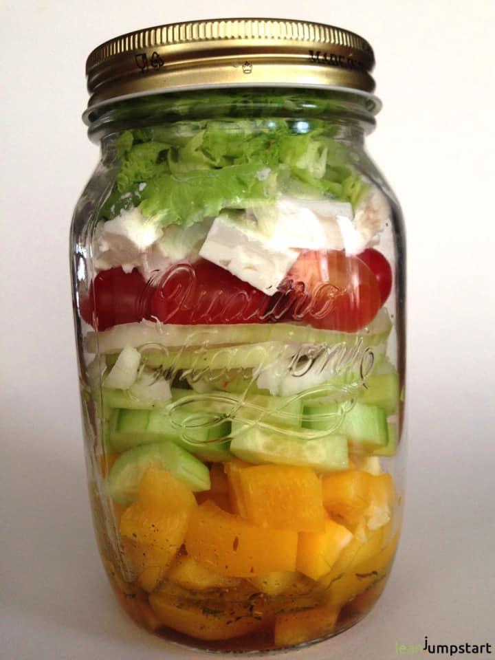 clean eating salad in mason jar