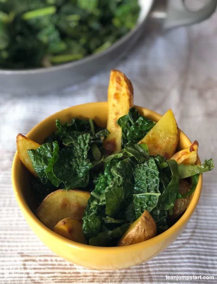 baked potato wedges and kale