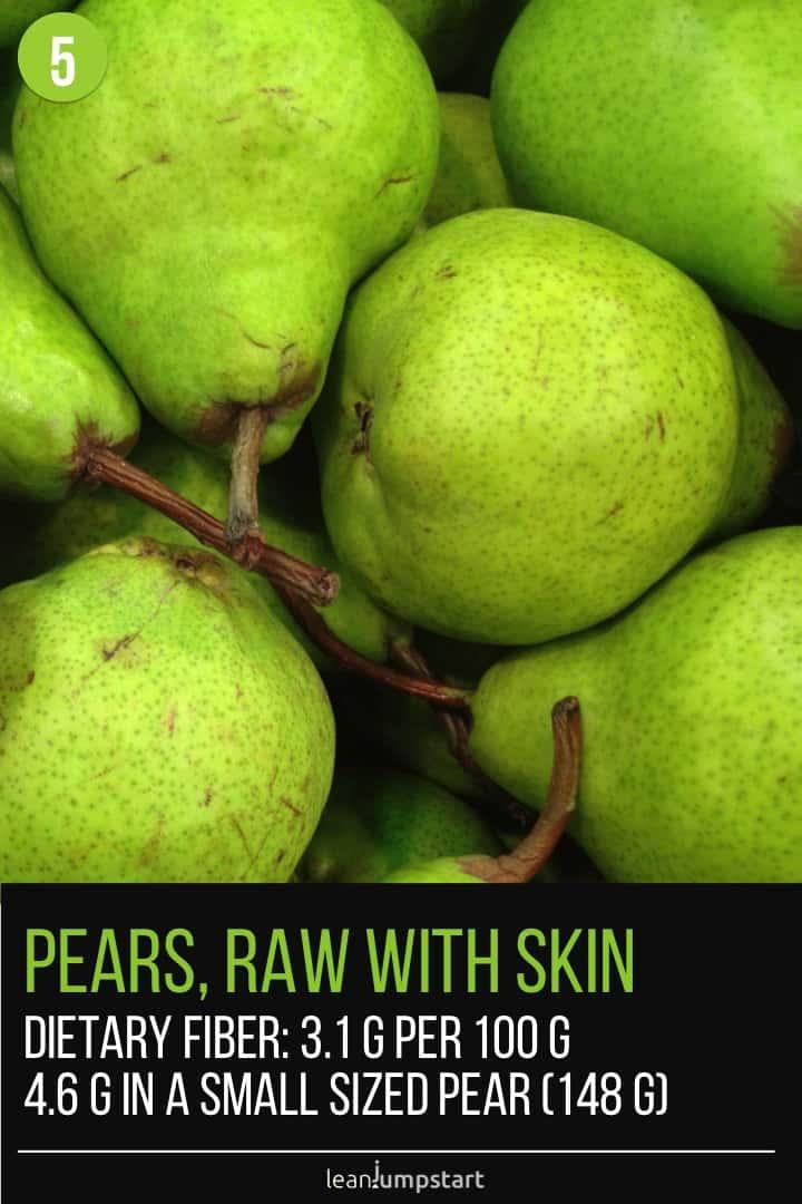 fiber in pears