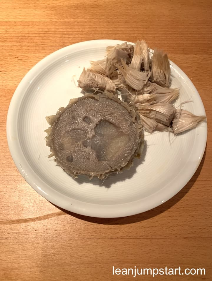 artichoke heart with removed hay