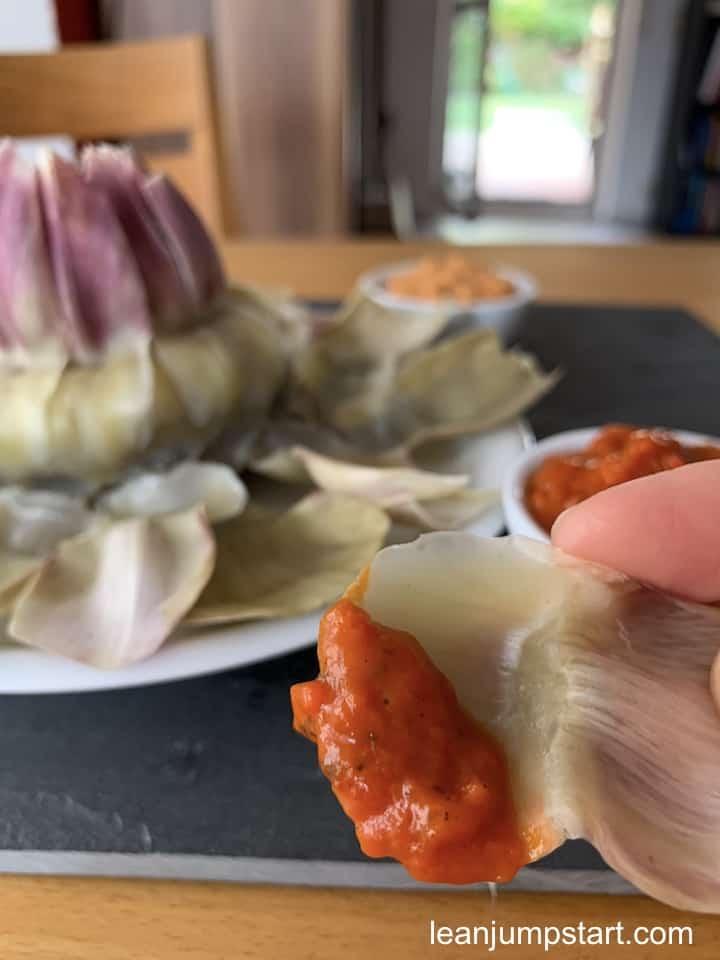 dipped artichoke leave