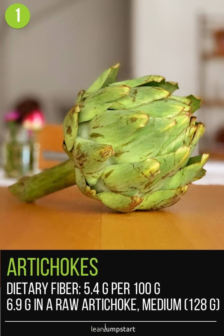 a whole artichoke on a table with blurred background