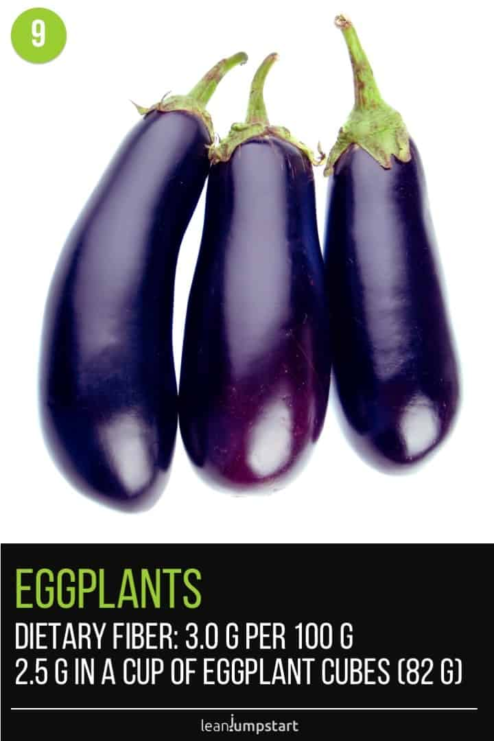 three single eggplants