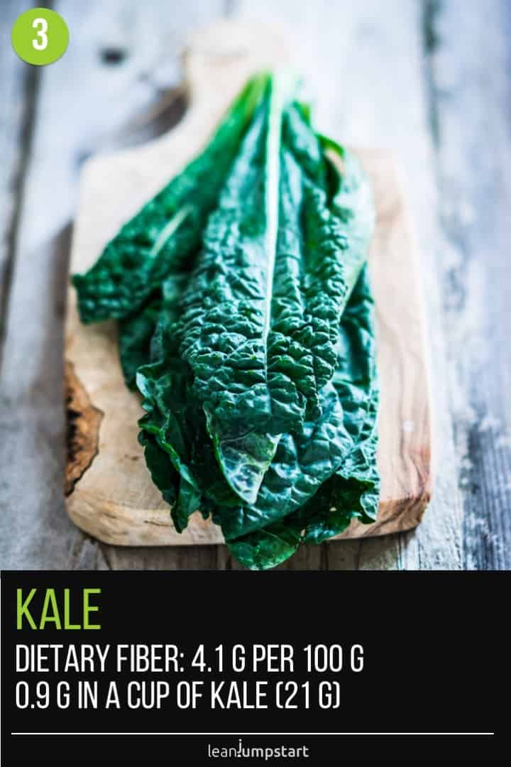 a few dark green kale leaves on wood