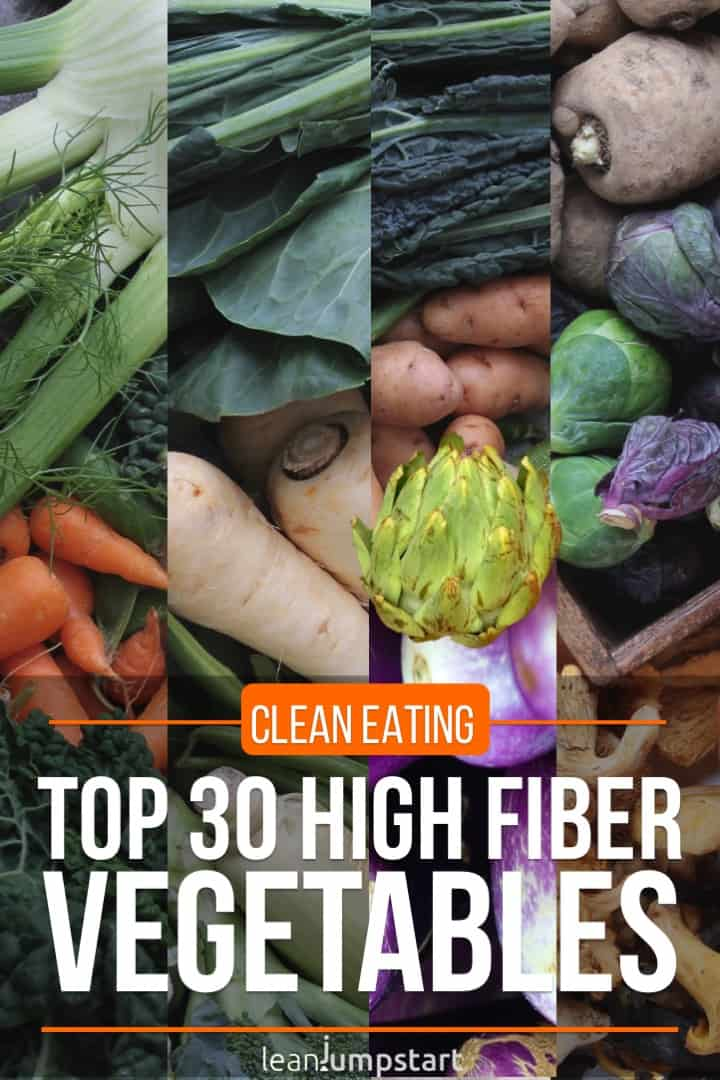 collage of top 30 high fiber vegetables with text overlay