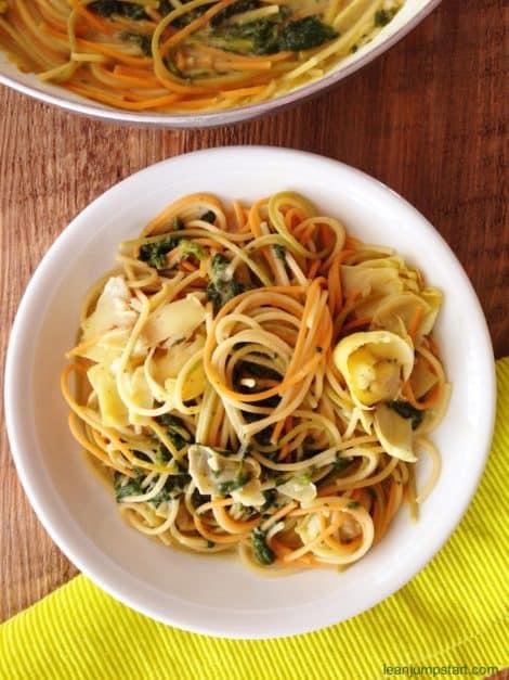 easy spinach artichoke pasta
