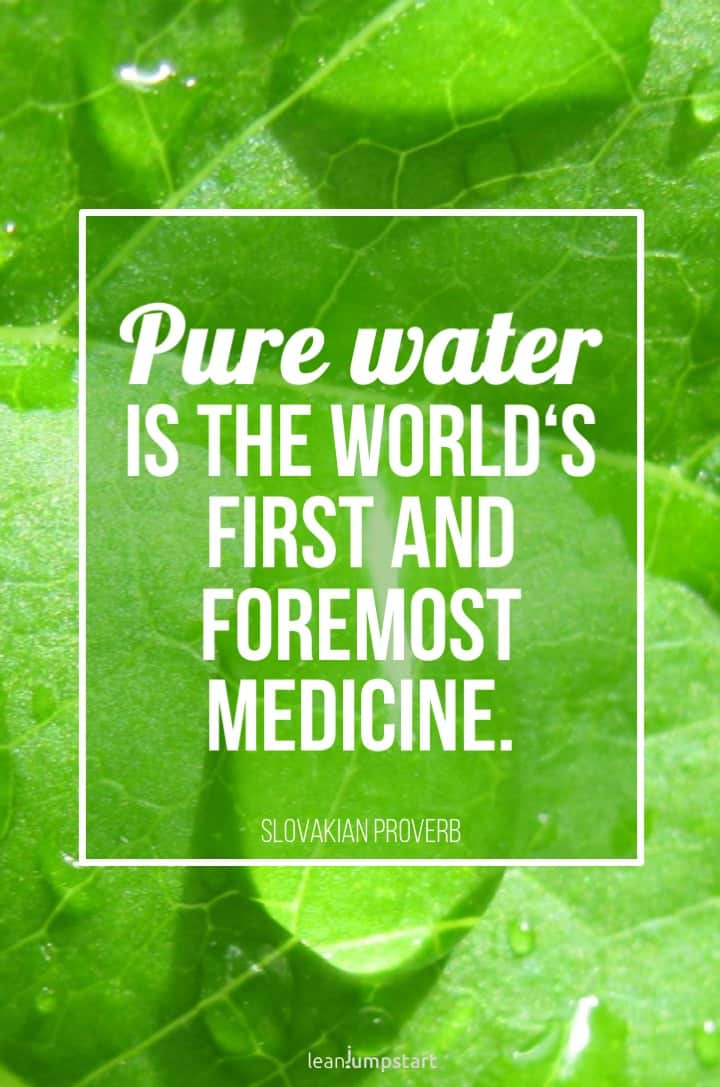 pure water medicine quote with green leaf background