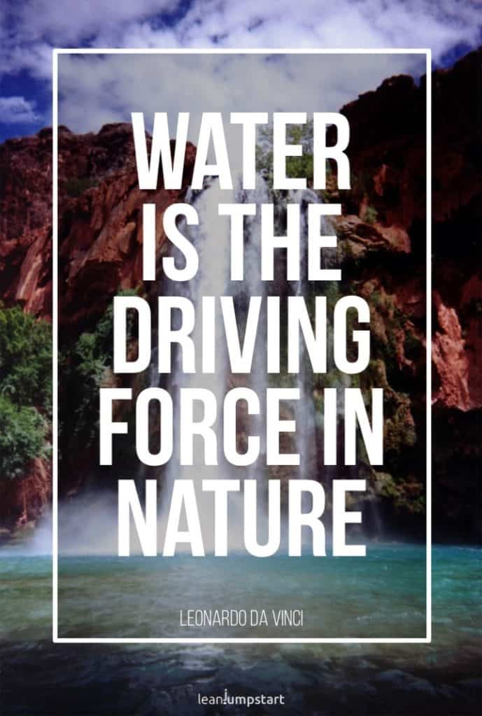 water fall background with da Vinci quote