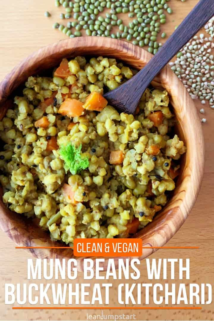 mung beans with buckwheat in a wooden bowl including title