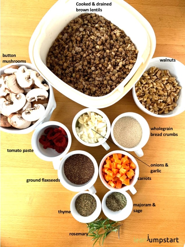 top view of lentil loaf ingredients