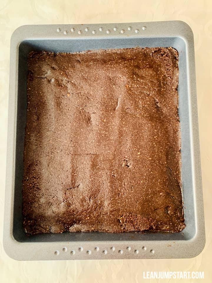 base layer presse in a baking pan