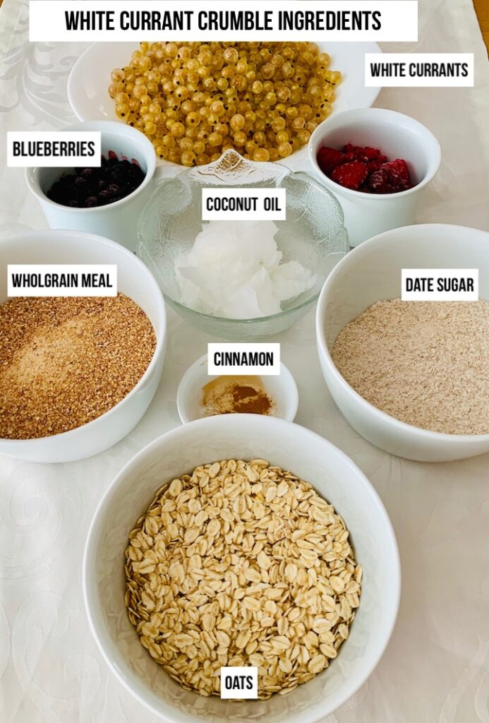 ingredients overview for berry crumble recipe with white currants
