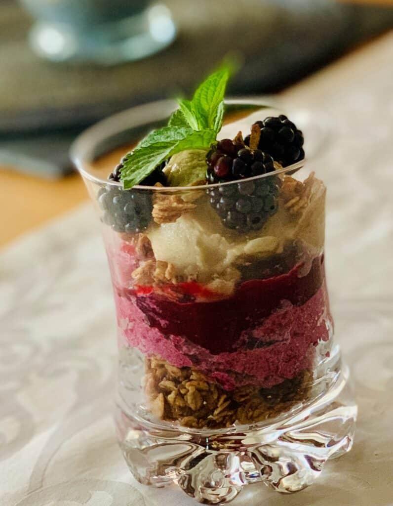 crunchy layer dessert with granola